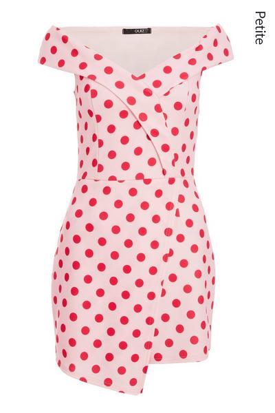Petite Pink Polka Dot Bardot Playsuit